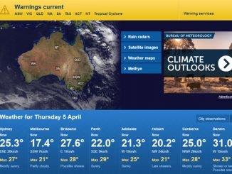 Webseite des Australischen Wetterdienstes